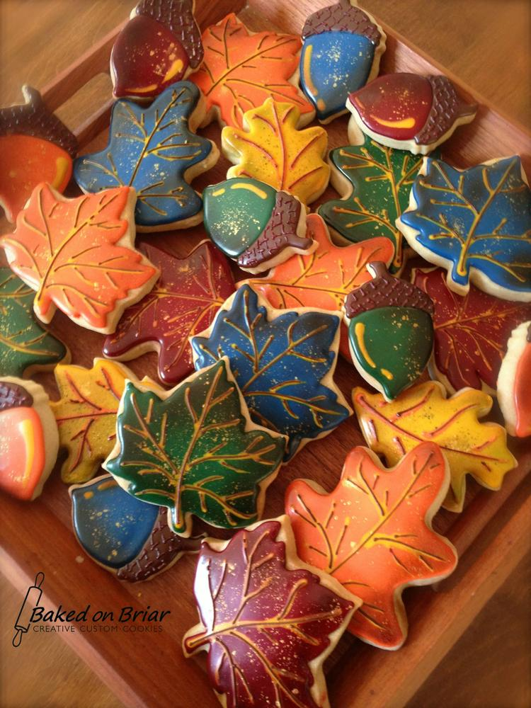 Gorgeous fall leaves sugar cookies with edible gold