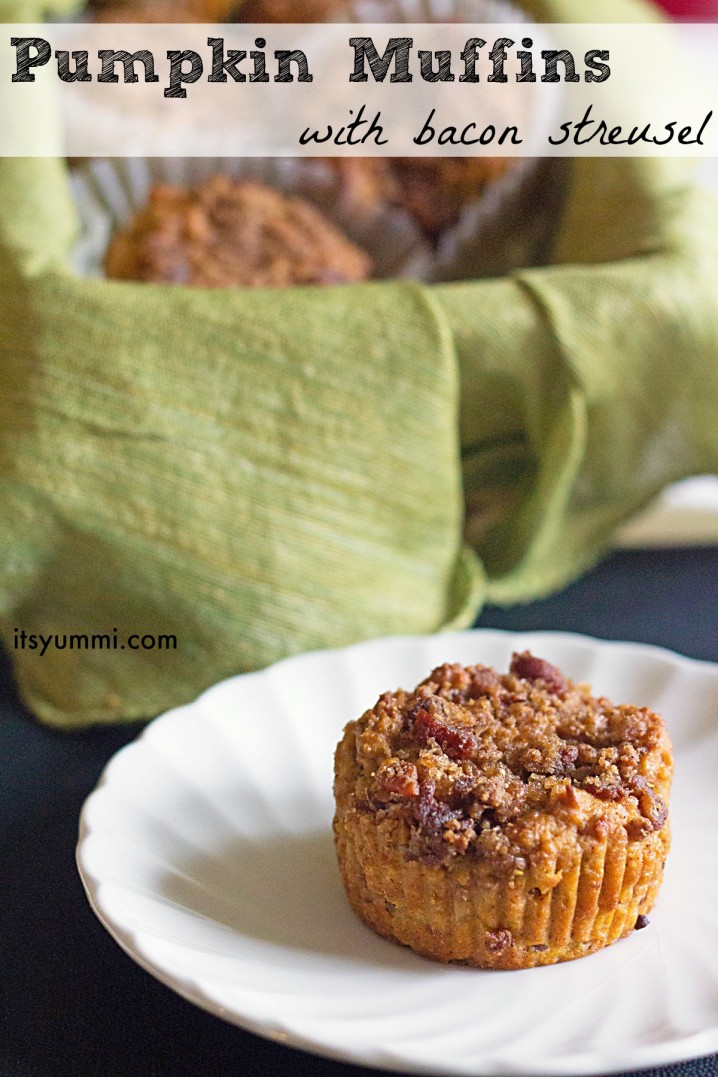 pumpkin muffins topped with bacon streusel