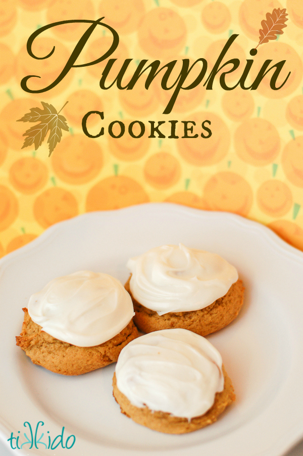 Soft pumpkin cookies with cream cheese icing