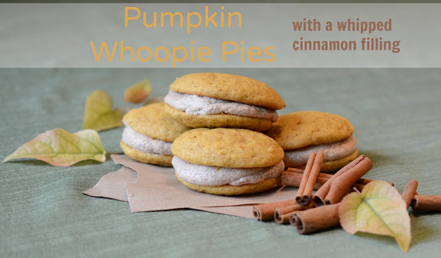 pumpkin whoopie pies with cinnamon whipped filling
