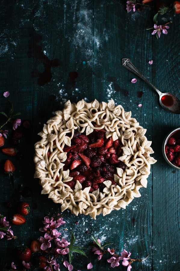 Triple Berry Pie with a gorgeous vine and leaf pie crust