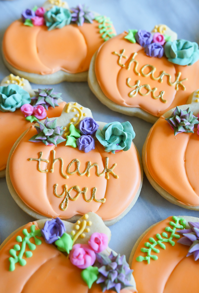 sugar cookies: pumpkins with succulents and flowers thank you sugar cookies