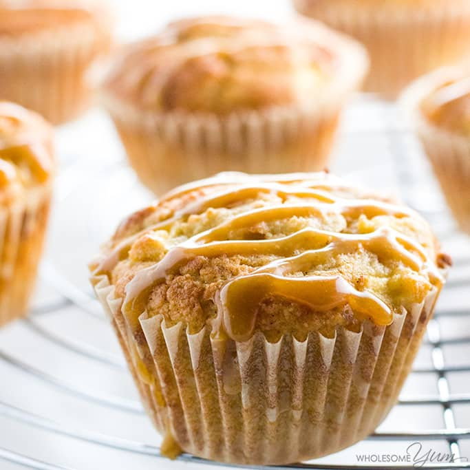 low carb, no sugar, gluten free apple muffins with salted caramel
