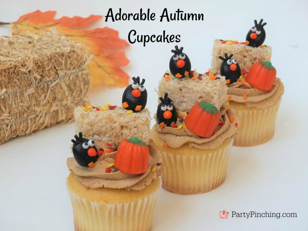 adorable hay bale, crow, and pumpkin fall cupcakes