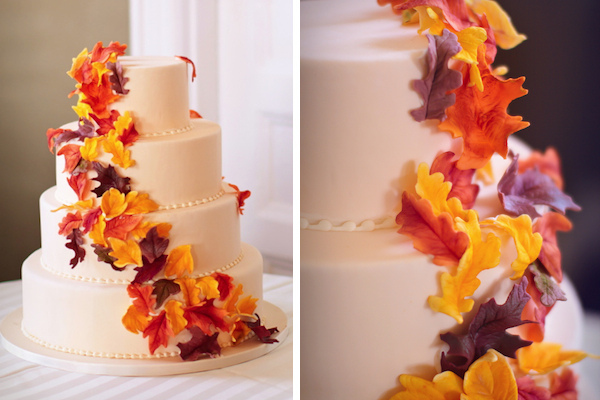 Fall wedding cake with edible gumpaste fall leaves