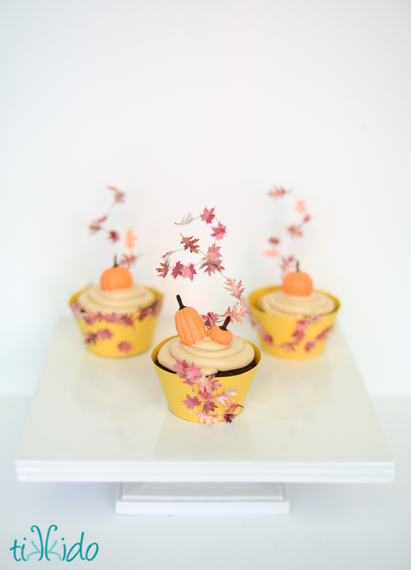 Swirling fall leaves cupcake toppers