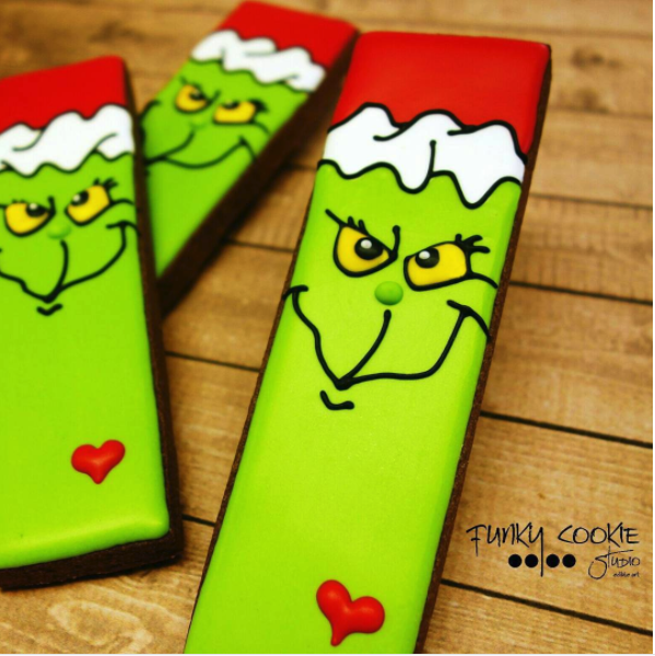 Grinch rectangle sugar cookies