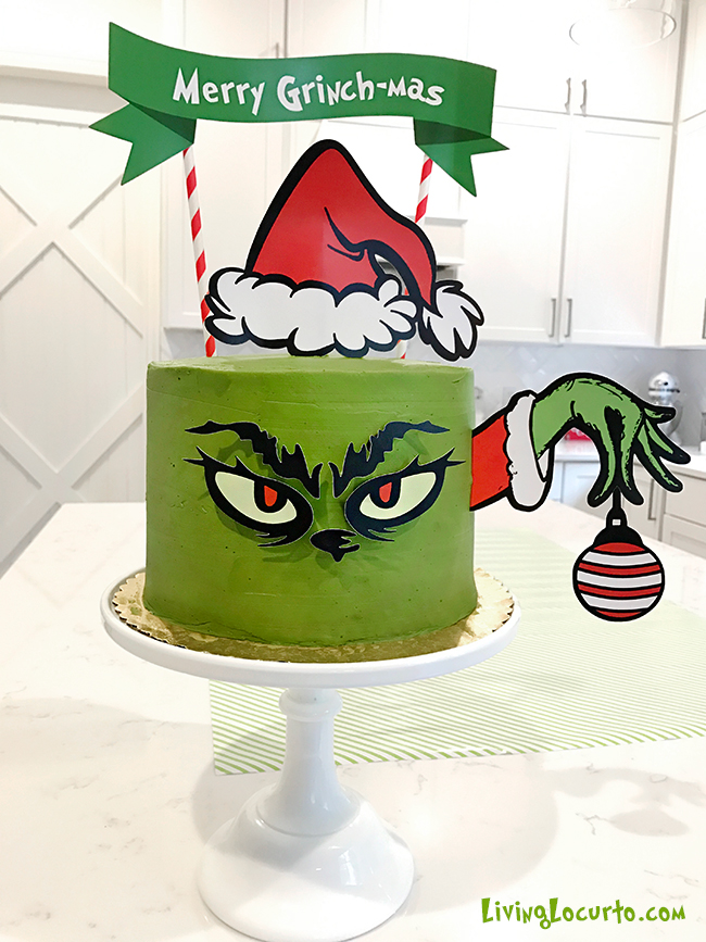 grinch cake with printable decorations for Christmas