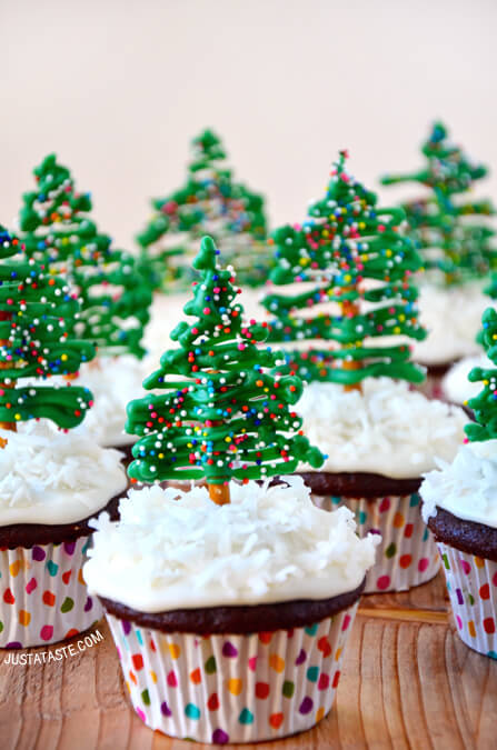 Cupcakes with chocolate pretzel Christmas tree edible cupcake toppers
