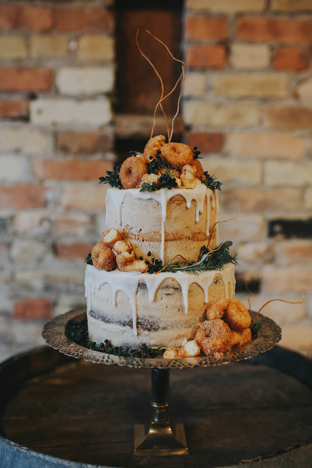 fall wedding cake with cider donut decorations