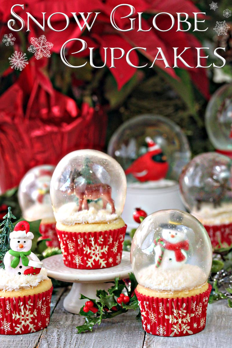 Amazing snow globe cupcakes made with gelatin bubble globes