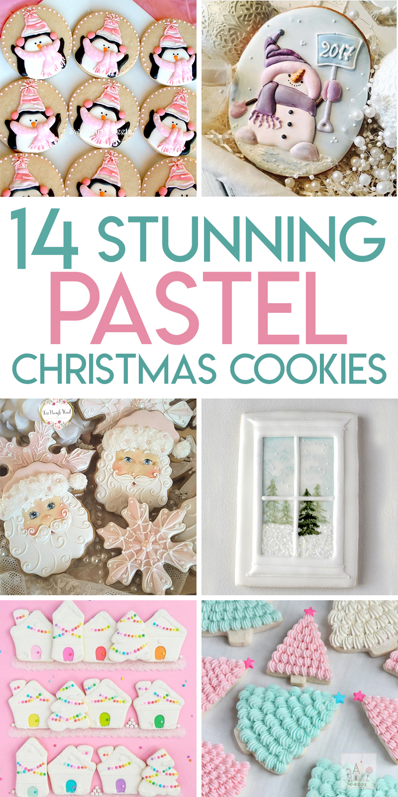 14 gorgeous pastel decorated Christmas sugar cookies