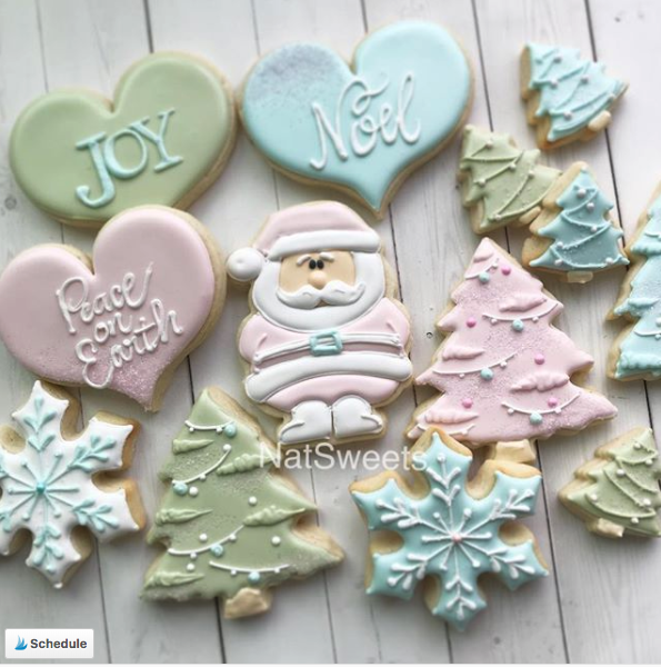 Pastel Christmas sugar cookie set, decorated with royal icing