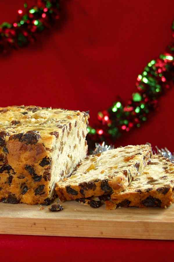 Bremer Klaben German Christmas yeast bread recipe studded with candied and/or dried fruit and nuts