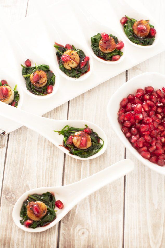 healthy appetizer for new year's eve: pomegranate scallop appetizer