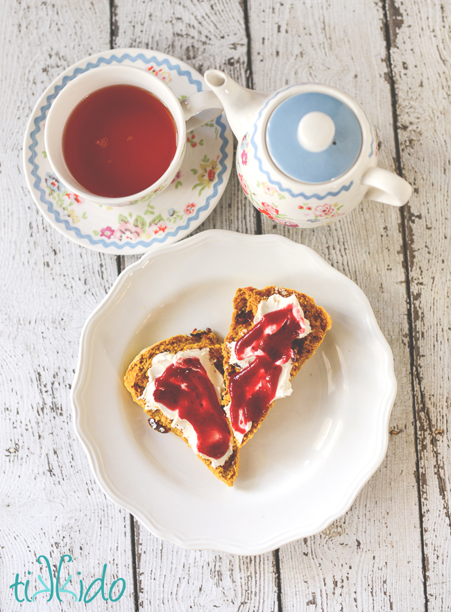 pumpkin cranberry scones recipe with homemade cranberry butter and clotted cream