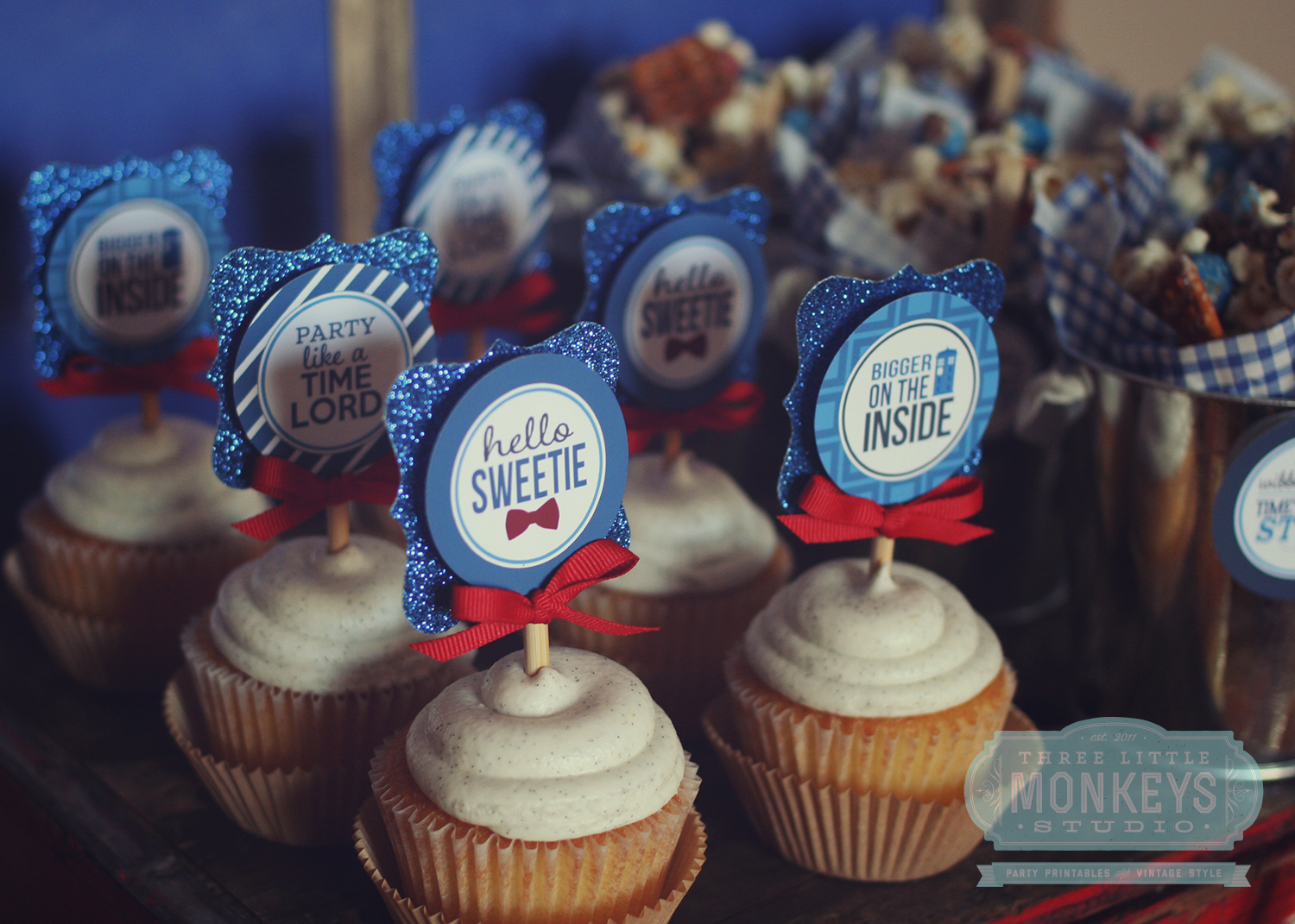 printable doctor who themed cupcake toppers