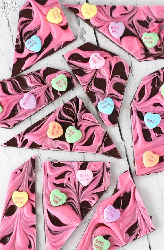 Conversation heart Valentine's Day chocolate bark