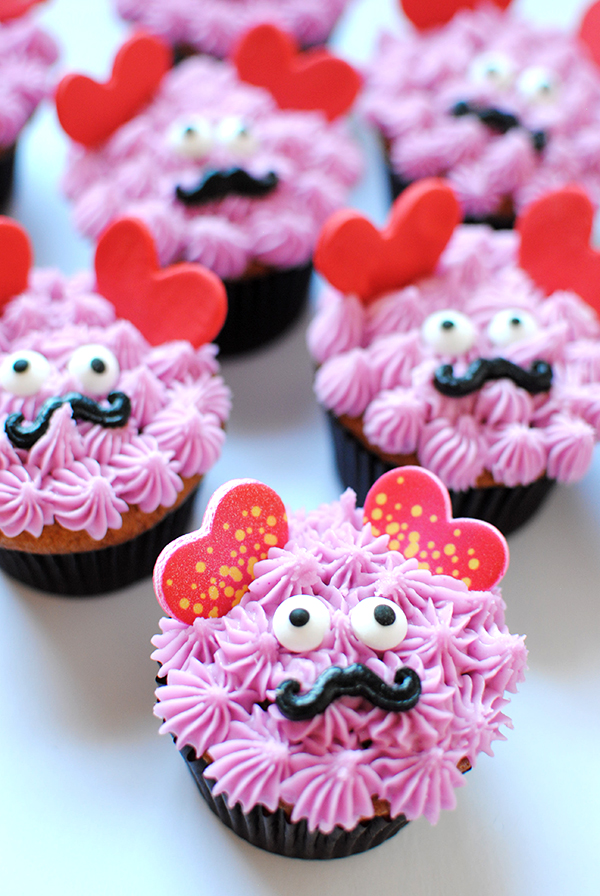 Love monster valentine's day cupcakes