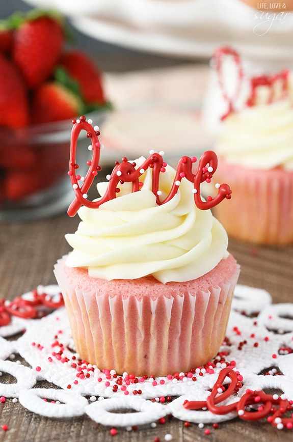 Valentine's day cupcakes with chocolate love edible cupcake topper