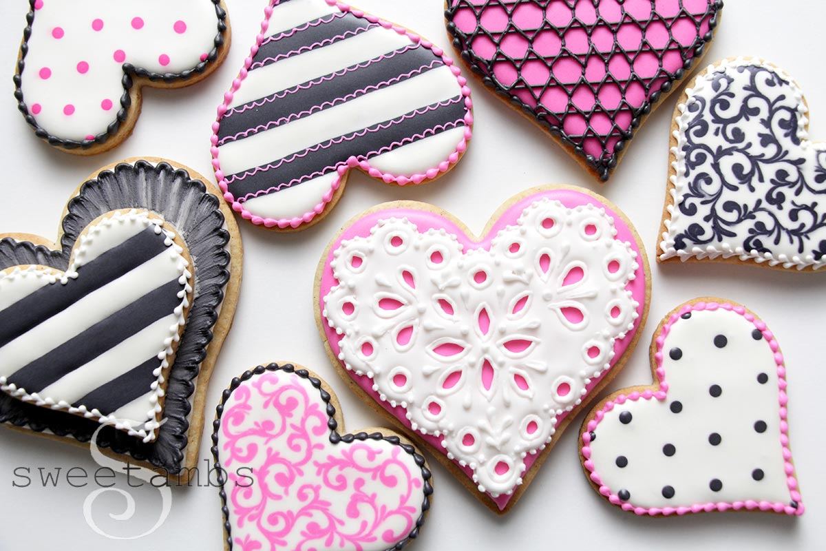 Stunning decorated sugar cookies for Valentine's day