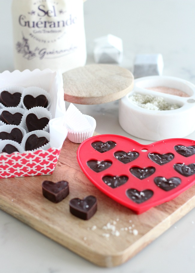 Chocolate truffle hearts with sea salt