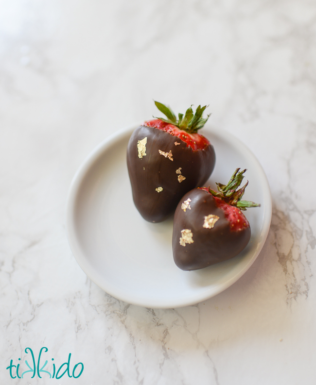 Chocolate covered strawberries decorated with real gold leaf