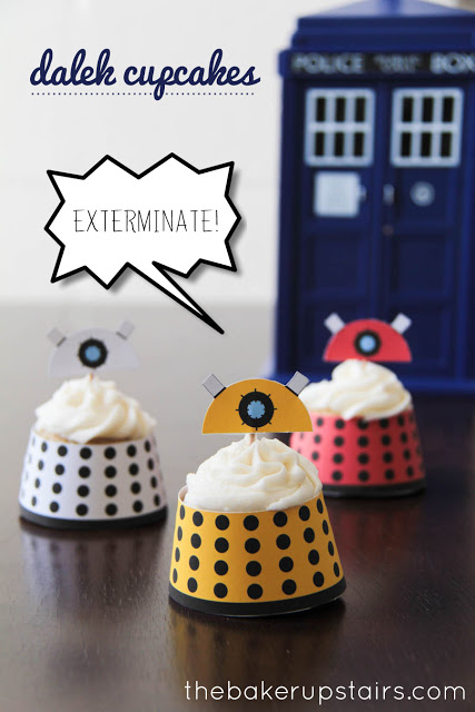 simple Doctor Who dalek cupcakes with FREE printable cupcake wrappers