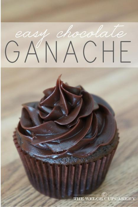 Easy chocolate ganache recipe used as a cupcake frosting