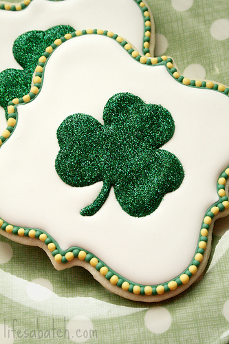 sparkling shamrock sugar cookies for St. Patrick's Day