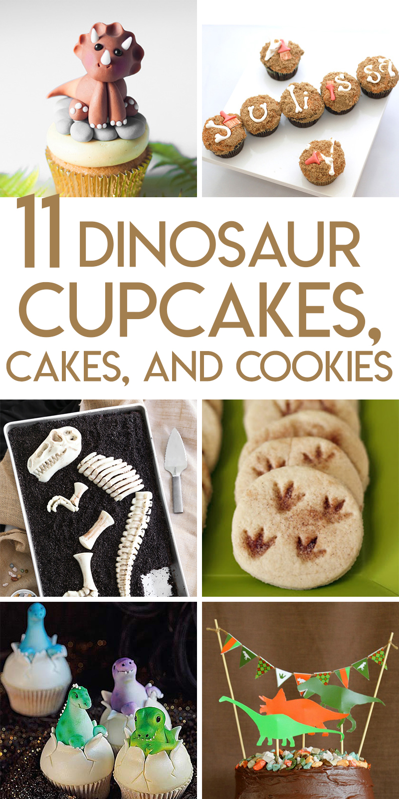 11 dinosaur cakes, cupcakes, and cookies