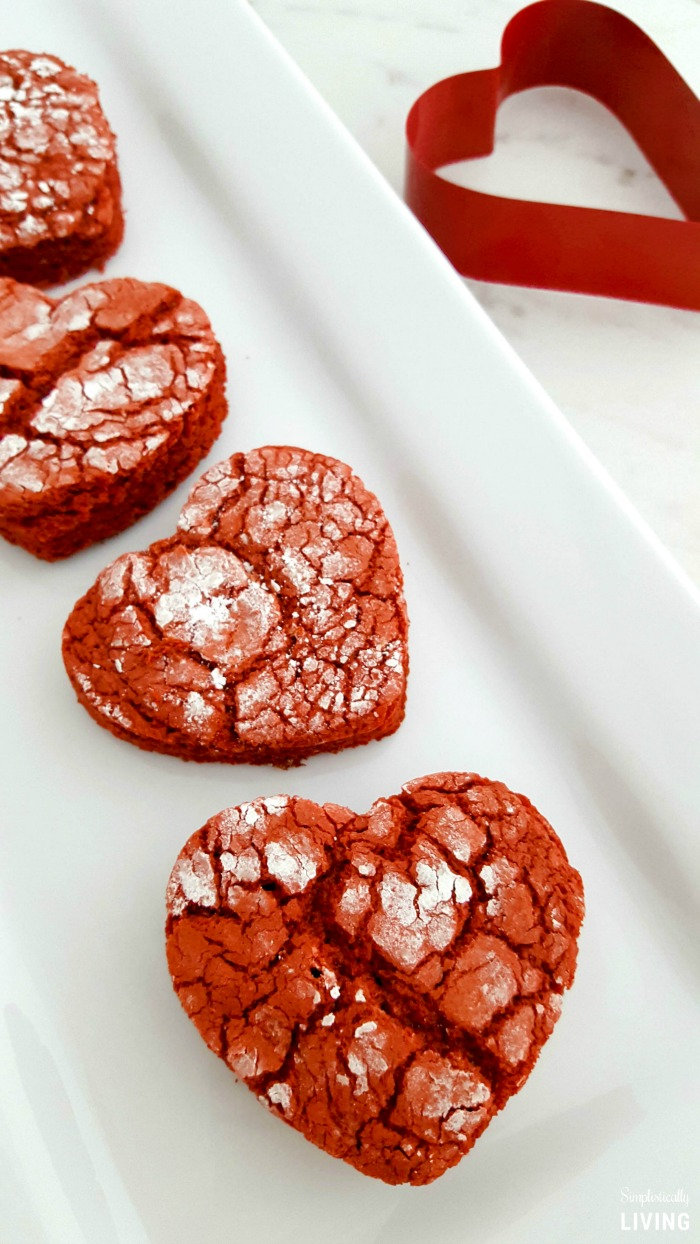 red velvet heart shaped cookies for Valentine's day