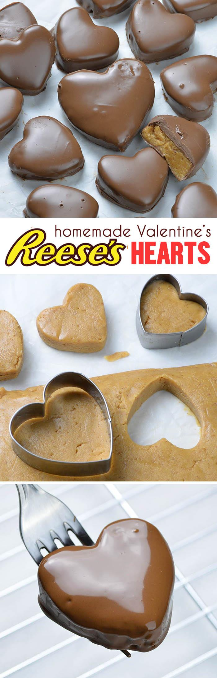 Homemade Reeses peanut butter heart candy recipe
