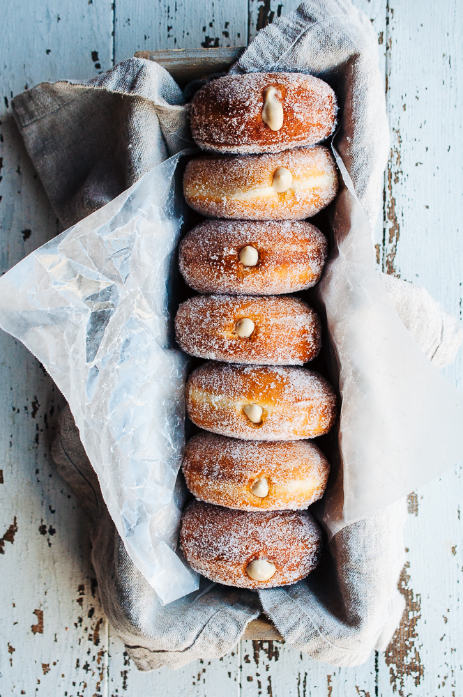 Homemade doughnuts filled with coffee pastry cream