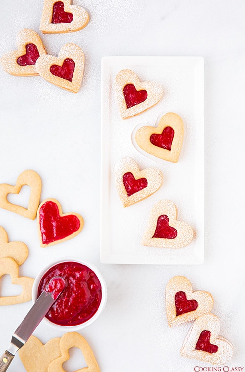 Heart shaped linzer cookie jam sandwich cookies
