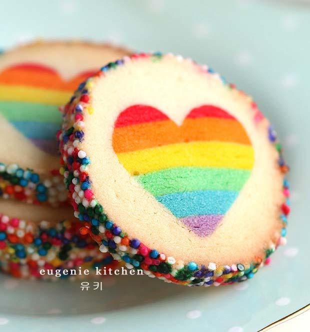 rainbow heart slice and bake cookies