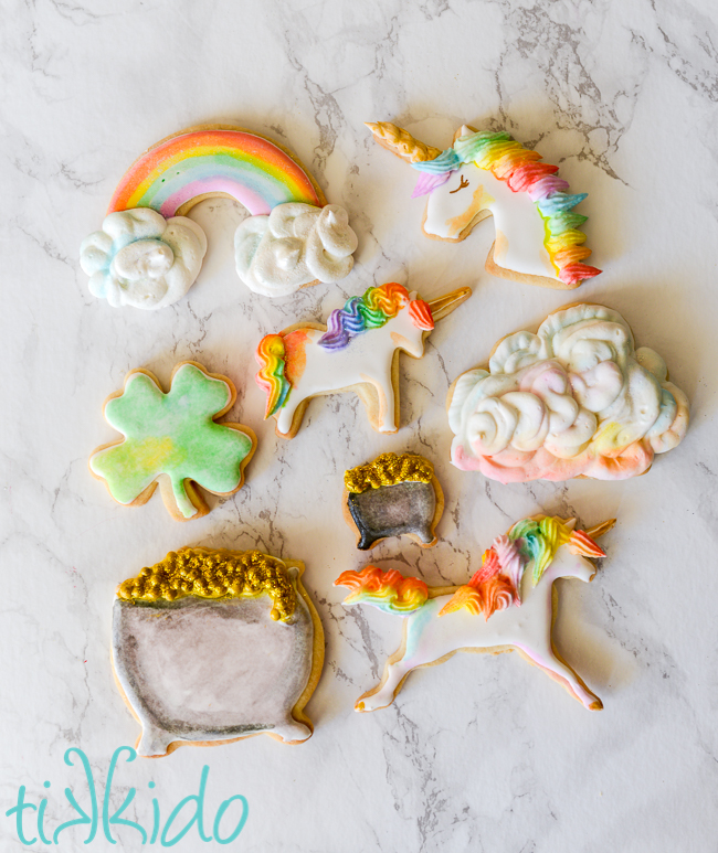 watercolor rainbow sugar cookies for St. patrick's Day
