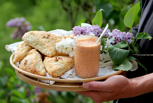 Lilac scones with rhubarb curd on a tray with fresh lilacs, held by a person outside.