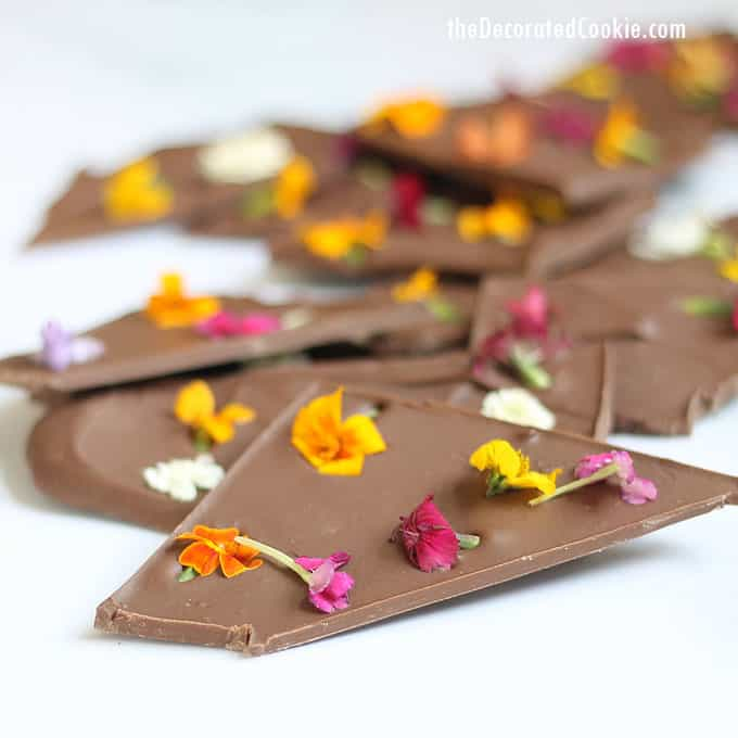 Chocolate bark decorated with fresh edible yellow and pink flowers on a white background.